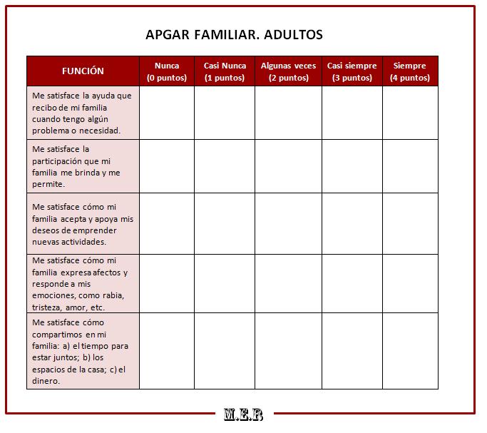 APGAR Familiar. Evaluación de la funcionalidad familiar. |